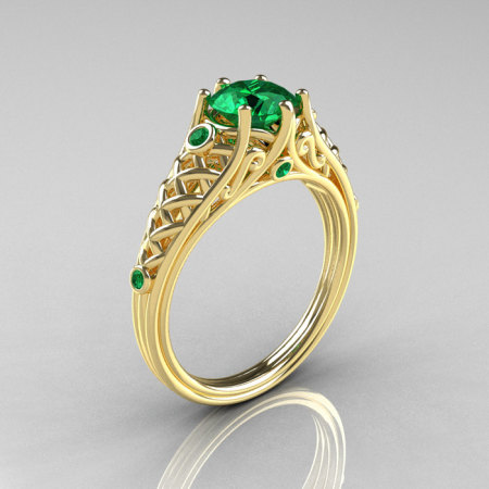Classic French 14K Yellow Gold 1.0 Carat Emerald Lace Ring R175-14YGEM-1