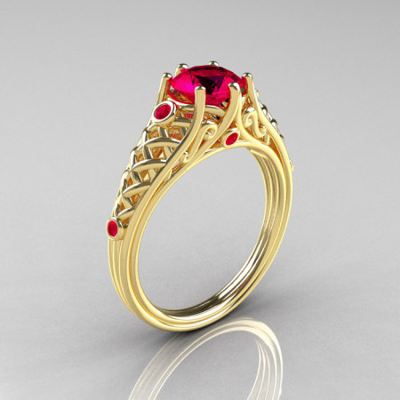 Classic French 14K Yellow Gold 1.0 Carat Ruby Lace Ring R175-14YGR-1