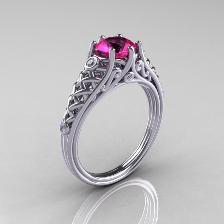 Classic French 14K White Gold 1.0 Carat Pink Sapphire Diamond Lace Ring R175-14WGDPS-1
