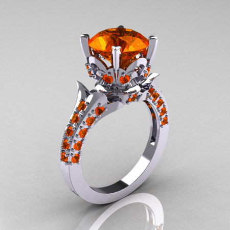 Classic French 10K White Gold 3.0 Carat Orange Sapphire Solitaire Wedding Ring R401-10KWGOS-1