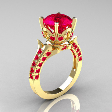 Classic French 14K Yellow Gold 3.0 Carat Ruby Solitaire Wedding Ring R401-14KYGR-1
