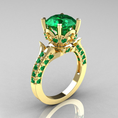 Classic French 14K Yellow Gold 3.0 Carat Emerald Solitaire Wedding Ring R401-14KYGE-1