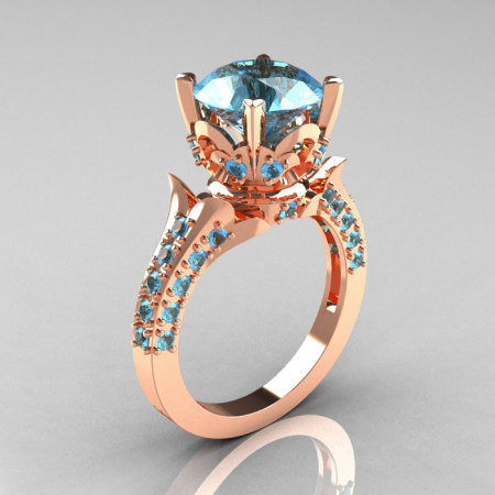 Classic French 14K Rose Gold 3.0 Carat Aquamarine Solitaire Wedding Ring R401-14KRGAQ-1