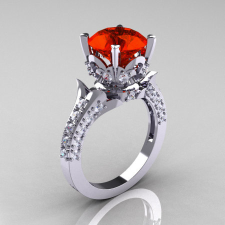 Classic French 14K White Gold 3.0 Carat Padparadscha Sapphire Diamond Solitaire Wedding Ring R401-14KWGDPS-1