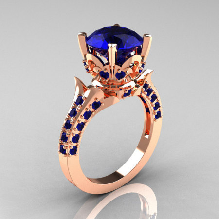 Classic French 14K Rose Gold 3.0 Carat Blue Sapphire Solitaire Wedding Ring R401-14KRGBS-1