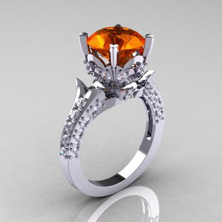 Classic French 14K White Gold 3.0 Carat Orange Sapphire Diamond Solitaire Wedding Ring R401-14KWGDOS-1
