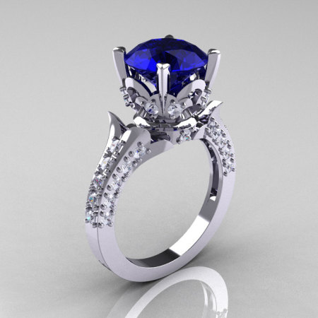 Classic French 14K White Gold 3.0 Carat Blue Sapphire Diamond Solitaire Wedding Ring R401-14KWGDBS-1