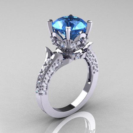 18K White Gold 3.0 Carat Blue Topaz Diamond Solitaire Wedding Ring R401-18KWGDBT-1