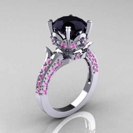 Exclusive 14K White Gold 3.0 Carat Black Diamond Light Pink Sapphire Solitaire Blazer Ring R401-14KWGLPSBD-1