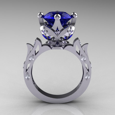 Modern Antique 14K White Gold 3.0 Carat Blue Sapphire Diamond Solitaire Wedding Ring R214-14KWGDBS-1