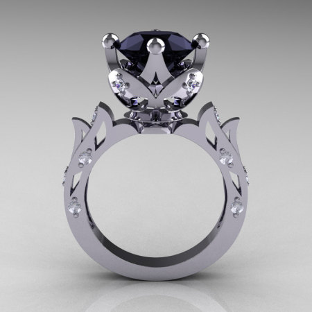 Modern Antique 10K White Gold 3.0 Carat Black and White Diamond Solitaire Wedding Ring R214-10KWGDBD-1