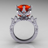Modern Antique 18K White Gold 3.0 Carat Padparadscha CZ Diamond Solitaire Wedding Ring R214-18KWGDPCZ-1