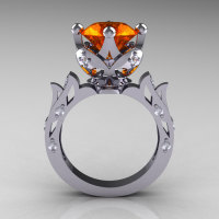 Modern Antique 10K White Gold 3.0 Carat Orange Sapphire Diamond Solitaire Wedding Ring R214-10KWGDOS-1