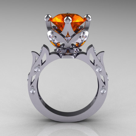 Modern Antique 10K White Gold 3.0 Carat Orange Sapphire Diamond Solitaire Wedding Ring R214-10KWGDOS-1