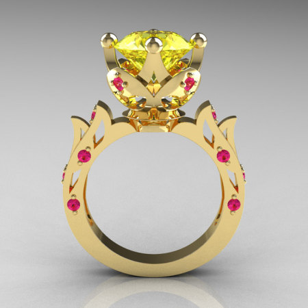 Modern Antique 14K Yellow Gold 3.0 Carat Yellow Pink Sapphire Solitaire Wedding Ring R214-14KYGYPS-1
