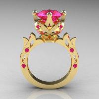 Modern Antique 14K Yellow Gold 3.0 Carat Pink Sapphire Solitaire Wedding Ring R214-14KYGPS-1
