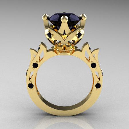 Modern Antique 14K Yellow Gold 3.0 Carat Black Diamond Solitaire Wedding Ring R214-14KYGBD-1