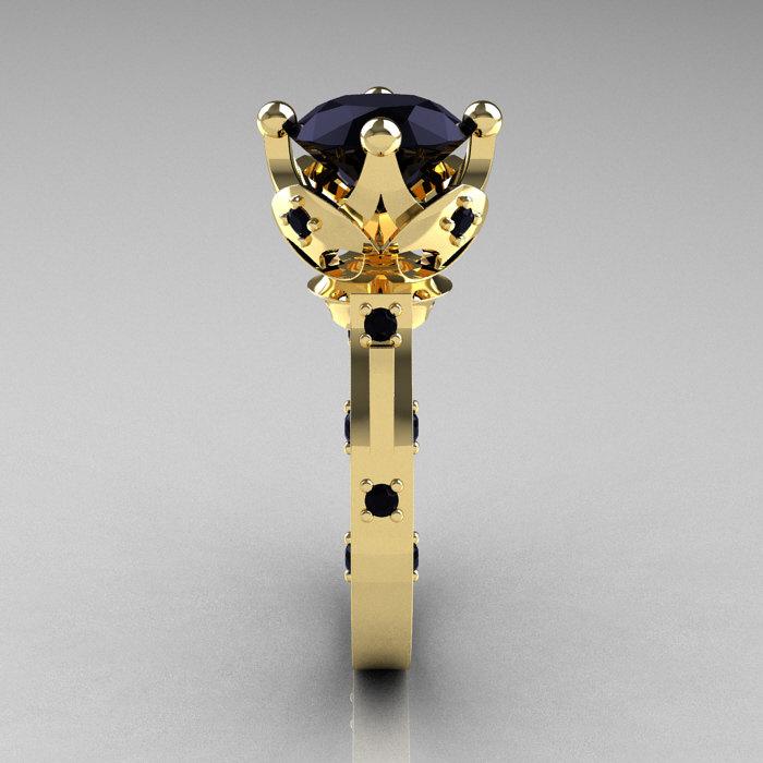 Modern Antique 14K Yellow Gold 3 0 Carat Black Diamond Solitaire Wedding Ring