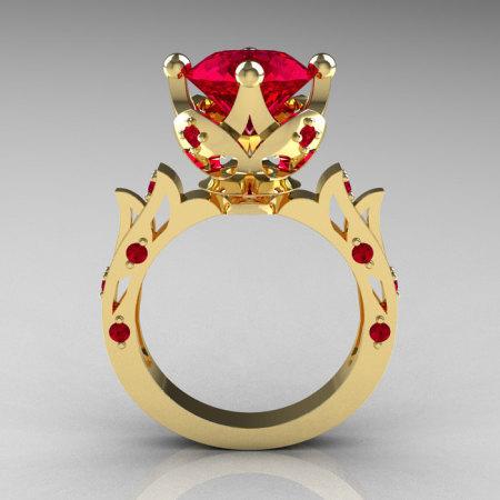 Modern Antique 18K Yellow Gold 3.0 Carat Ruby Solitaire Wedding Ring R214-18KYGR-1
