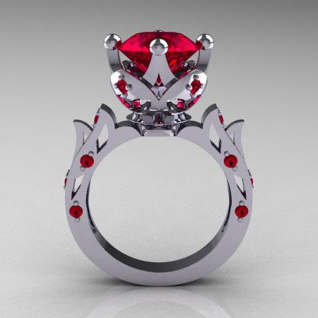 Modern Antique 10K White Gold 3.0 Carat Ruby Solitaire Wedding Ring R214-10KWGR-1