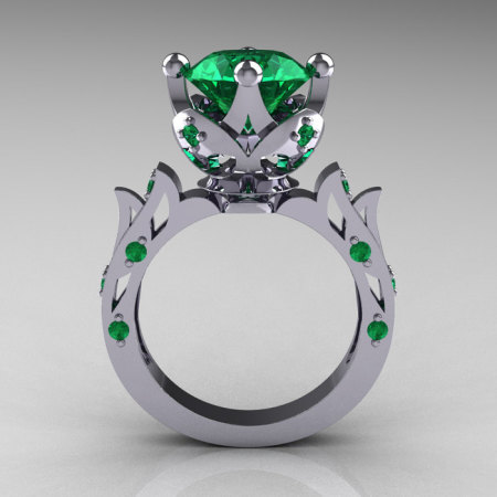 Modern Antique 10K White Gold 3.0 Carat Emerald Solitaire Wedding Ring R214-10KWGEM-1