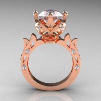 Modern Antique 14K Rose Gold 3.0 Carat Simulation Diamond Solitaire Wedding Ring R214-14KRGSD-1