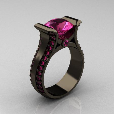 Modern 14K Black Gold 3.0 Carat Pink Sapphire Bridal Ring R196-14KBGPS-1