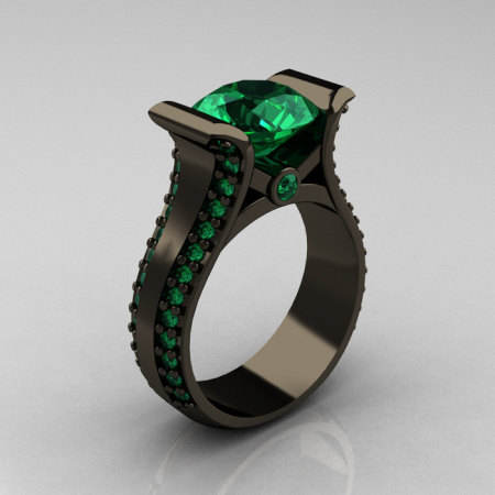 Modern 14K Black Gold 3.0 Carat Emerald Bridal Ring R196-14KBGE-1