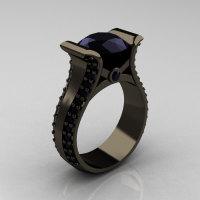 Modern 14K Black Gold 3.0 Carat Black Diamond Bridal Ring R196-14KBGBD-1