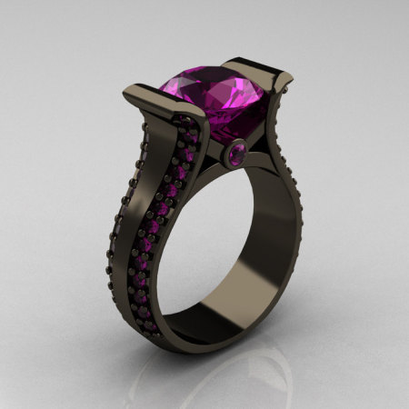 Modern 14K Black Gold 3.0 Carat Amethyst Bridal Ring R196-14KBGAM-1
