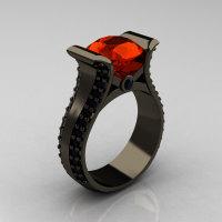 Modern 14K Black Gold 3.0 Carat Padparadscha Black Diamond Bridal Ring R196-14KBGBDP-1