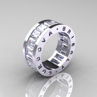 Mens Modern 14K White Gold White Sapphire Channel Cluster Infinity Wedding Band R174-14KWGWS