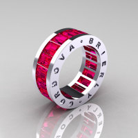 Mens Modern 10K White Gold Ruby Channel Cluster Infinity Wedding Band R174-10WGSDR-1