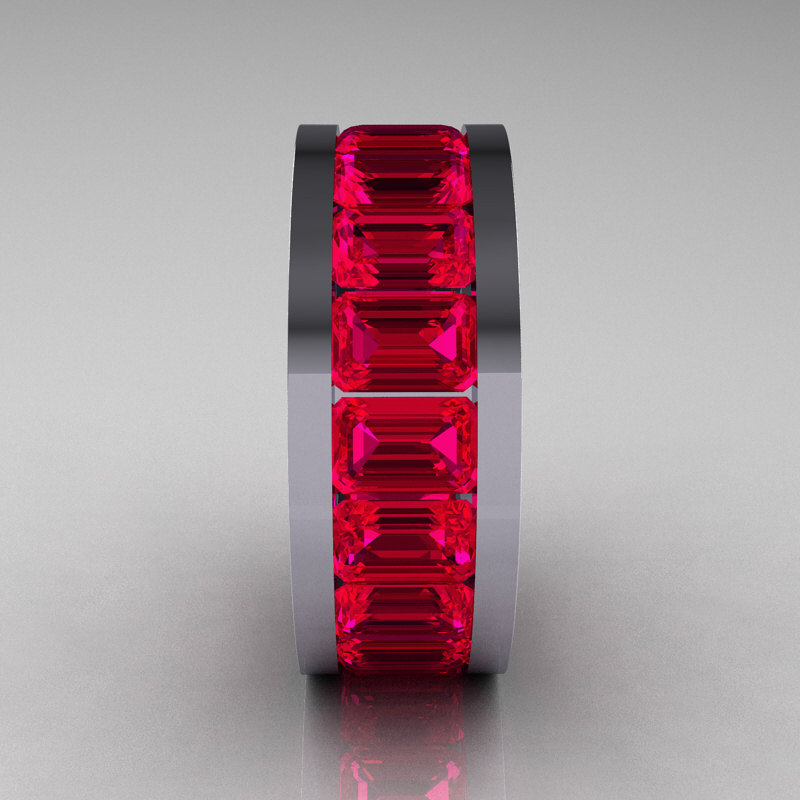 Mens Modern 10K White Gold Ruby Channel Cluster Infinity Wedding Band R174 10WGSDR 2