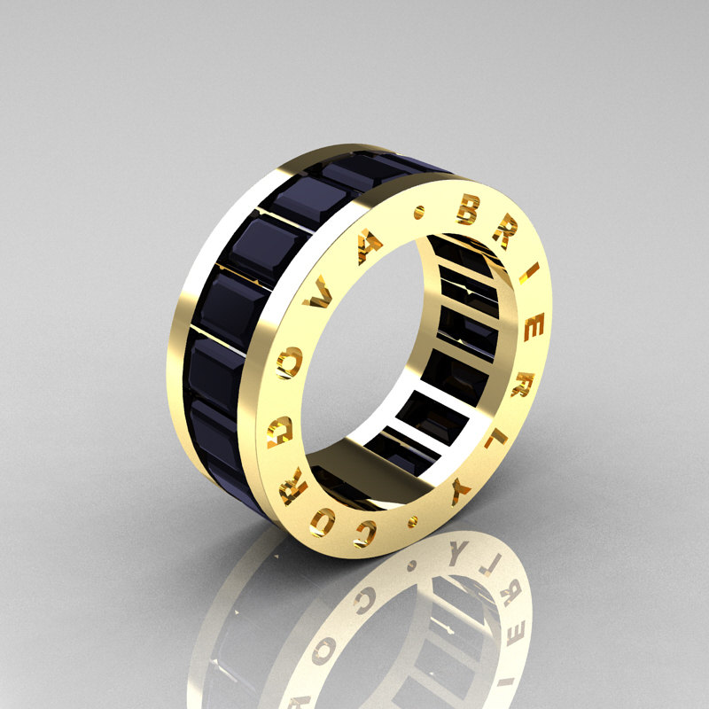 Mens Modern 14K Yellow Gold Black Diamond Channel Cluster Infinity Wedding  Band R174 14YGBD