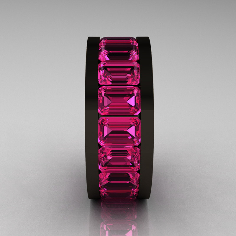 Mens Modern 14K Black Gold Pink Sapphire Channel Cluster Infinity Wedding Band R174 14BGPS
