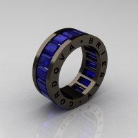 Mens Modern 14K Black Gold Blue Sapphire Channel Cluster Infinity Wedding Band R174-14BGBS-1