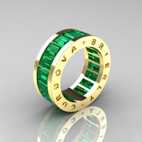 Mens Modern 14K Yellow Gold Emerald Channel Cluster Infinity Wedding Band R174-14YGEM-1