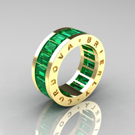 Mens Modern 14K Yellow Gold Emerald Channel Cluster Infinity Wedding Band R174-14YGEM-1