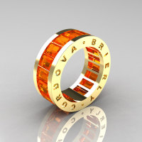Mens Modern 14K Yellow Gold Orange Sapphire Channel Cluster Infinity Wedding Band R174-14YGOS-1