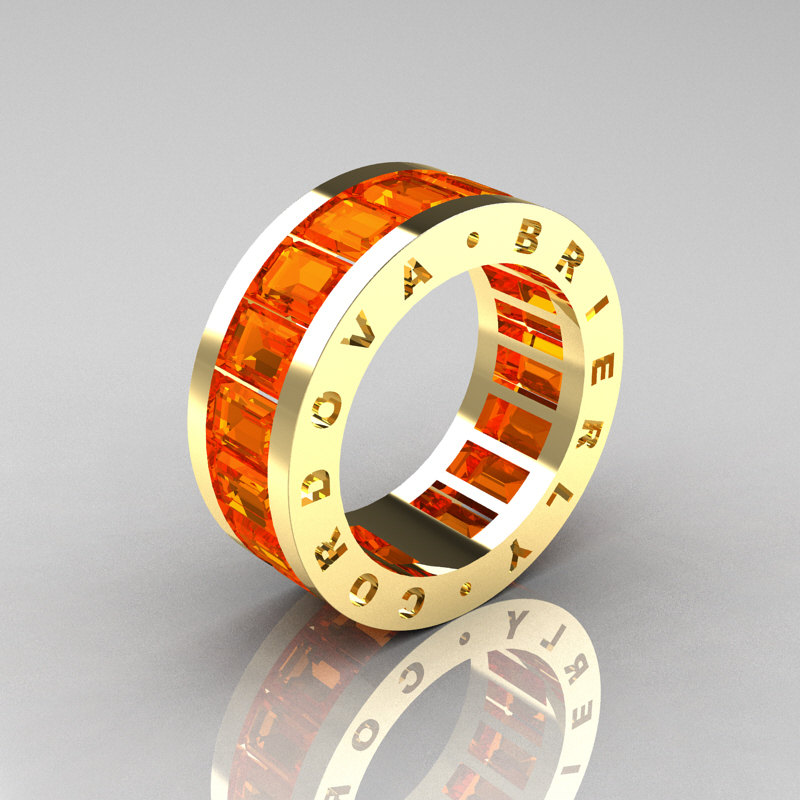 Mens Modern 14k Yellow Gold Orange Sapphire Channel