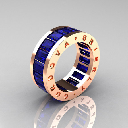 Mens Modern 10K Rose Gold Blue Sapphire Channel Cluster Infinity Wedding Band R174-10RGBS-1
