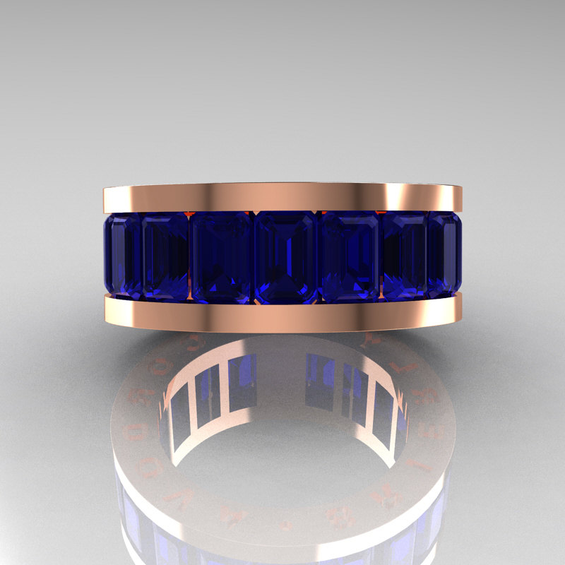 Mens Modern 10k Rose Gold Blue Sapphire Channel Cluster