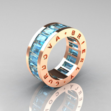 Mens Modern 14K Rose Gold Aquamarine Channel Cluster Infinity Wedding Band R174-14RGAQ-1