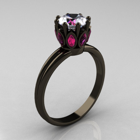 Classic 14K Black Gold Marquise Pink Sapphire 1.0 Carat White Sapphire Solitaire Ring R90-14KBGPSWS-1