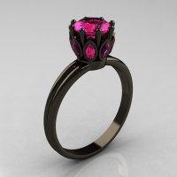 Classic 14K Black Gold Marquise 1.0 Carat Round Pink Sapphire Solitaire Ring R90-14KBGPS-1