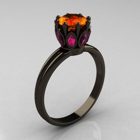Classic 14K Black Gold Marquise Pink Sapphire 1.0 Carat Orange Sapphire Solitaire Ring R90-14KBGPSOS-1