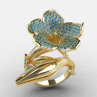 Designer Exclusive 14K Yellow Gold Blue Topaz Duchess Trumpet Flower and Vine Ring NN123-14KYGBT-1