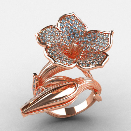 Designer Exclusive 14K Rose Gold Aquamarine Duchess Trumpet Flower and Vine Ring NN123-14KRGAQ-1
