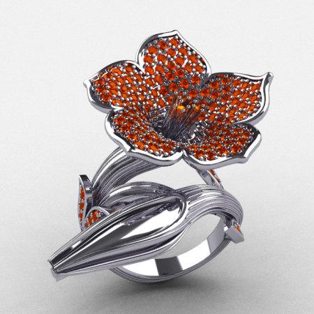 Designer Exclusive 14K White Gold Orange Sapphire Duchess Trumpet Flower and Vine Ring NN123-14KWGOS-1